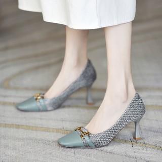 KAISER 凯撒 新款单鞋女浅口方头女鞋高跟鞋细跟皮鞋女舒适通勤鞋子