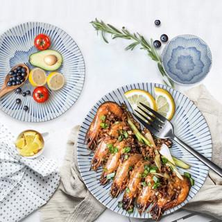 MinoYaki 美浓烧 陶瓷餐具碗碟套装 樱花十草10头套装