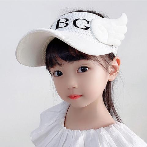-帽子夏季宝宝防晒遮阳帽小天使-白色