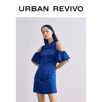 URBAN REVIVO UR夏季新品女装国潮复古盘扣光泽立领连衣裙WG22S7AE2012