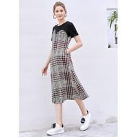 AMII Amii极简甜美少女风连衣裙2021夏季新款拼接撞色格纹不规则雪纺裙