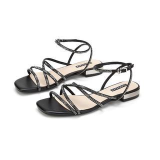 DAPHNE 达芙妮 热销新品露趾后空女鞋织物面舒适百搭低跟休闲鞋气质凉爽女凉鞋