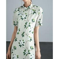 FIRS 杉杉 2021春夏新款复古收腰显瘦盘扣短袖A字短款改良旗袍连衣裙