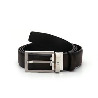 MONTBLANC 万宝龙 黑色红棕色双面皮革针扣式腰带 118417