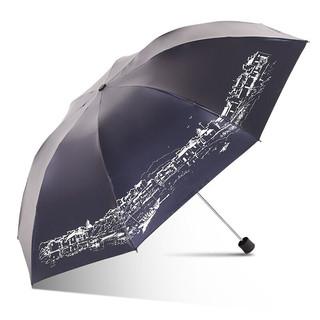 移动端 : Paradise 天堂伞 天堂伞加大三折简约黑胶防晒遮阳伞