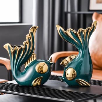 Hoatai Ceramic 华达泰陶瓷 亲嘴鱼客厅装饰摆件 墨绿色