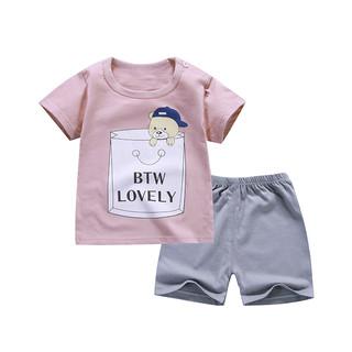 雅澜清 夏季儿童短袖短裤套装