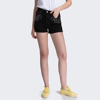 Levi's 李维斯 77879-0003 女士高腰修身个性复古牛仔短裤