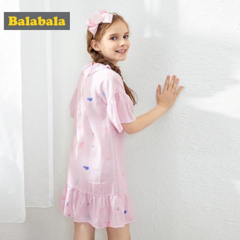 balabala 巴拉巴拉 巴拉巴拉女童睡衣薄款夏装清仓正品儿童家居服公主睡裙短袖裙子女