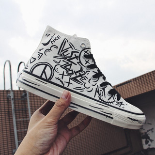 DaFuFeiyue 大孚飞跃 飞跃(Feiyue)男鞋高帮帆布鞋男2021春季新款爆改联名史迪奇金克丝手绘鞋 涂鸦款 42