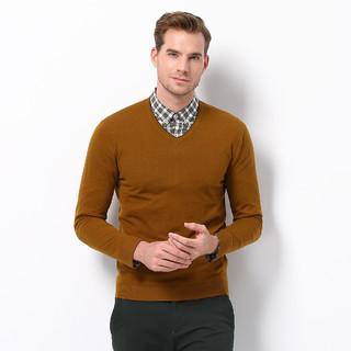 Crocodile 鳄鱼恤 100%绵羊毛精纺贴身薄款镶边V领针织打底衫男式羊毛衫