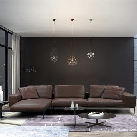 意式极简约后现代真皮沙发组合 北欧客厅头层牛皮3人位小户型轻奢