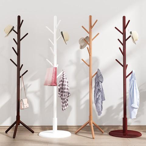 妙立 实木衣帽架卧室内简易家用晾衣架落地现代单杆式收纳挂衣架挂包架