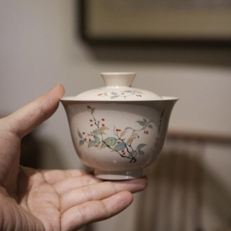 SUYI 素以 603 景德镇草木灰米白釉盖碗茶杯 莲枝花盖碗