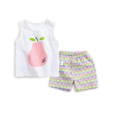 CICIIBEAR 齐齐熊 齐齐熊夏季男童套装纯棉纱布套装男宝宝儿童套装背心两件套