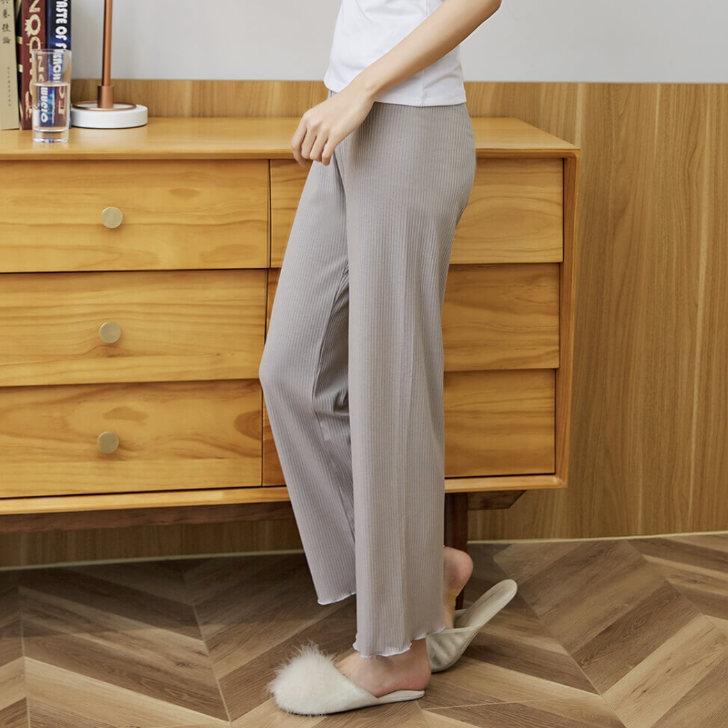 COMO LIVING 女士罗纹修身显瘦空调长裤