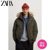 ZARA   男装 SORONA® 保暖材质毛领棉服夹克外套 03427320505