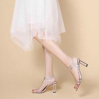 goldlion 金利来 夏季爆款凉鞋轻奢宴会鞋蛇皮透明高跟女凉鞋方头搭扣一字型女鞋