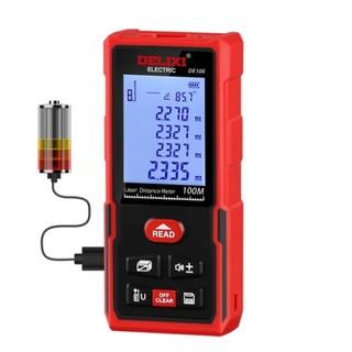 京东PLUS会员 : DELIXI 德力西 DE100 激光测距仪 充电语音款 0.05-100m