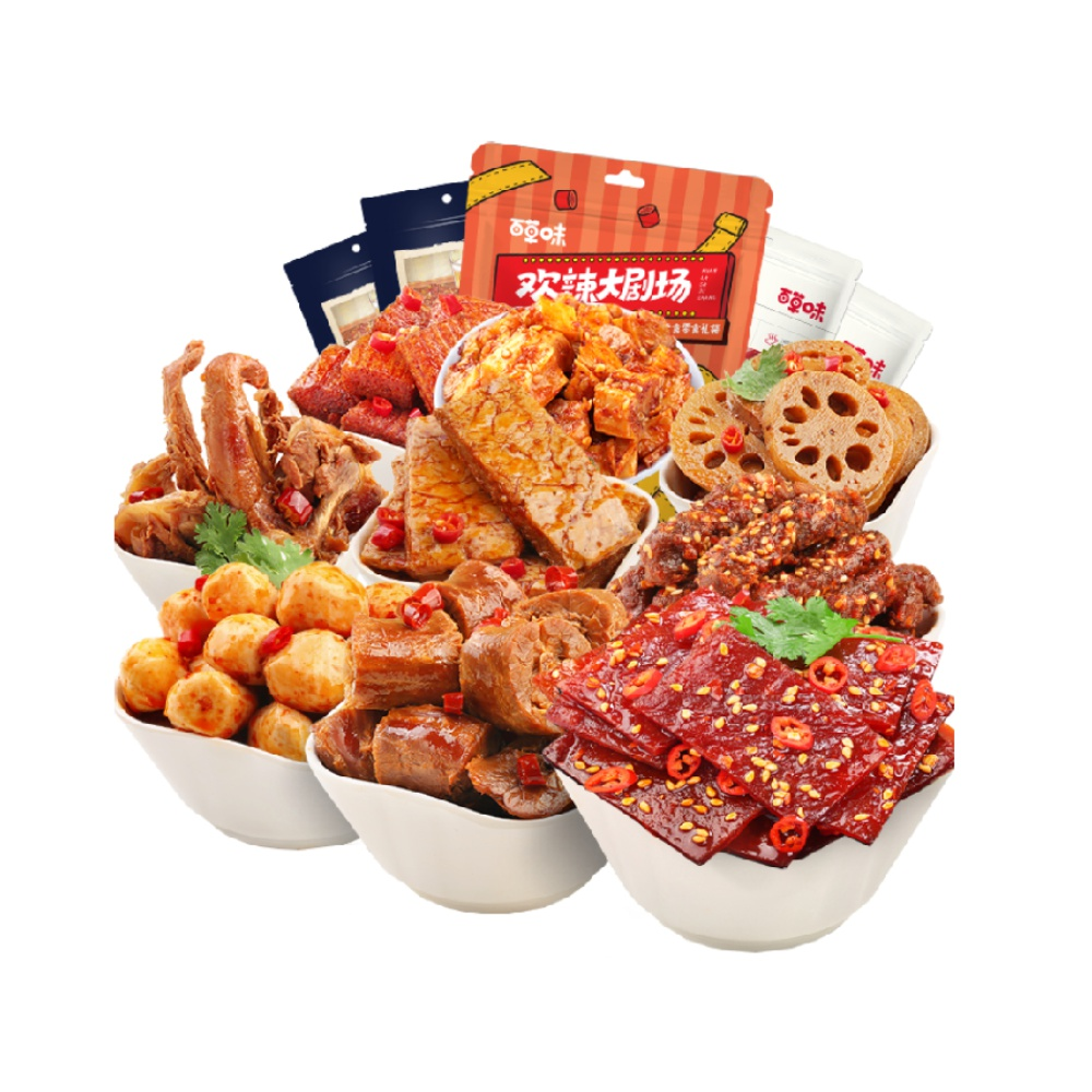 Be&Cheery 百草味 麻辣零食大礼包445g休闲零食端午送礼猪肉脯牛肉