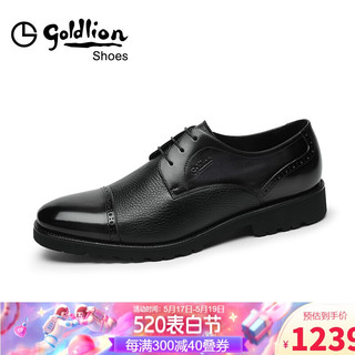 goldlion 金利来 男鞋都市时尚防滑正装皮鞋雕花透气布洛克商务鞋50402042601A-黑色-39码