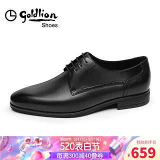 goldlion 金利来 男鞋都市正装商务皮鞋舒适耐穿德比鞋50211021601A-黑色-39码