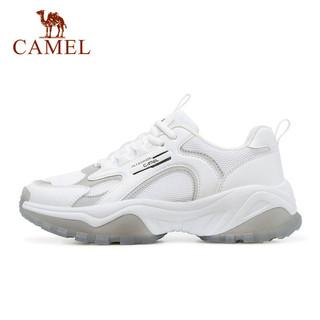 CAMEL 骆驼 运动鞋女士2021春夏时尚厚底显高老爹鞋女休闲鞋 A11363692,白/粉,女款 37
