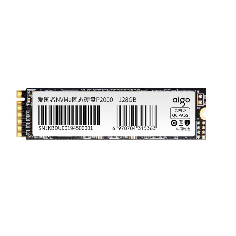 aigo 爱国者 P2000 NVMe M.2 固态硬盘 128GB(PCI-E3.0)