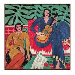 艺术家的礼物 马蒂斯名作复刻版画-抱吉他的女孩 小号柚木框 60x60cm