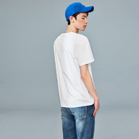 HLA 海澜之家 哆啦A梦新疆棉短袖t恤2021新款潮流夏季上衣男士T恤 米白FX 175/92A/L