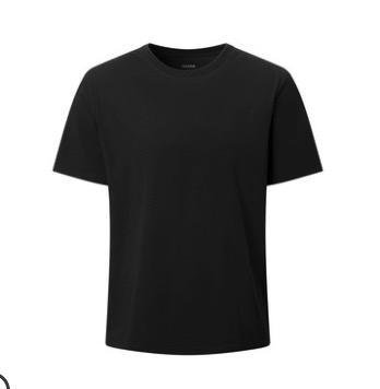 YANXUAN 网易严选 T恤男士2021年春夏季新款多色基础圆领宽松运动休闲短袖 黑色-长绒棉 L