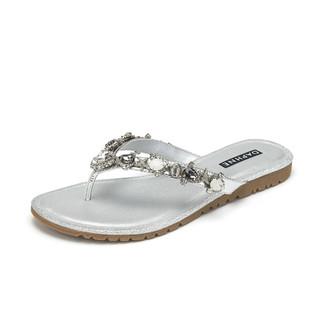 DAPHNE 达芙妮 2021夏季新款女拖鞋外穿百搭休闲水钻凉鞋柔软舒适织物女鞋