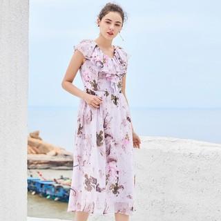 ERAL 艾莱依 春季新款女连衣裙无袖束腰V领长款荷叶边连衣裙夏装女裙子