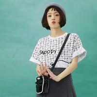 LEDIN 乐町 史努比联名 CWDAB2136 女士印花短袖T恤