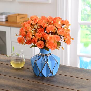 Hoatai Ceramic 华达泰陶瓷 创意陶瓷花瓶摆件 矮款蓝