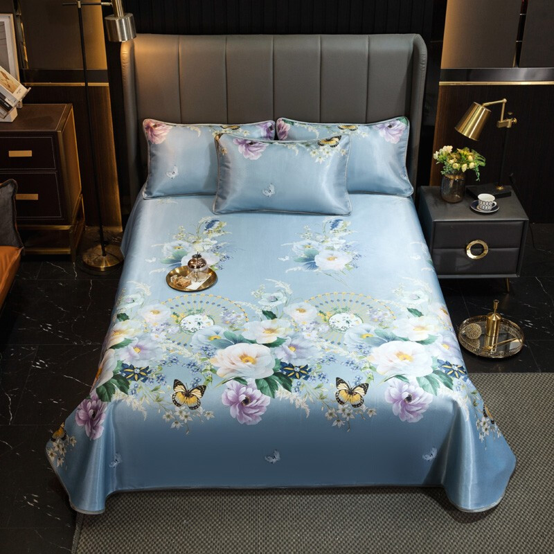 柚寝 夏天床单款冰丝席凉席三件套空调软席