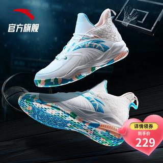 ANTA 安踏 官方2021夏季新款KT汤普森涂鸦水泥克星要疯4篮球鞋 安踏白氯蓝婴儿粉-3 6.5
