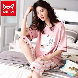 Miiow 猫人 女士睡衣女纯棉甜美印花短袖可外穿家居服套装 粉色 M
