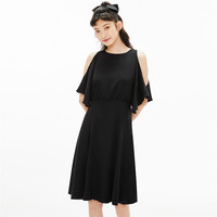 GIORDANO 佐丹奴 连衣裙女装设计师合作款露肩黑色气质裙子05460604