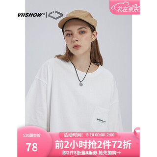 ViiSHOW VIISHOW2021夏季新品短袖T恤 男士潮牌落肩休闲宽松打底衫cityboy 白色 180XL