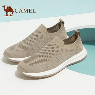 CAMEL 骆驼 休闲鞋透气户外运动时尚套脚网布鞋 A122303700 豆沙 41