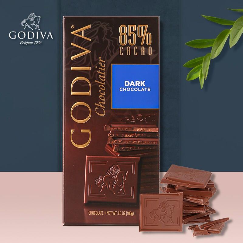 GODIVA 歌帝梵 巧克力85%可可黑巧克力排块  100g