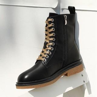 DAPHNE 达芙妮 春季新品十孔系带马丁靴休闲PU圆头低跟工装靴女靴