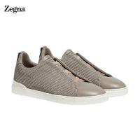 京东PLUS会员 : Ermenegildo Zegna 杰尼亚 PELLE TESSUTA™系列 男士小牛皮运动鞋牡蛎色 LHSPT-A4665X-OYS-8 42码