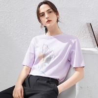 衣香丽影 910411255 花卉圆领女式t恤