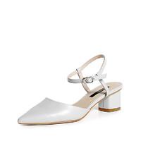 C.BANNER 千百度女鞋舒适粗跟优雅时尚莫兰迪包头仙女单鞋 34 米白