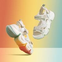 百丽 夏新款彩虹底女厚底运动风凉鞋   B3725681DD2BL0 米白/灰 35码