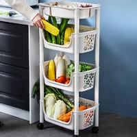 多美忆 厨房置物架 落地储物架蔬菜多层收纳架可移动玩具储物筐 四层米色(升级款+分隔菜盒)
