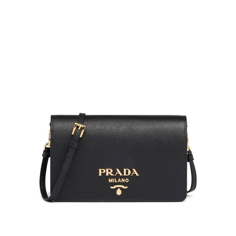 PRADA 普拉达 1BP019VOOO-NZV-F0002 女士黑色Saffiano皮革迷你手袋