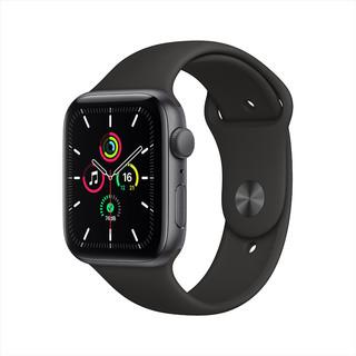 Apple 苹果 Watch SE 智能手表 44mm GPS款 深空灰色铝金属表壳 黑色运动型表带(血氧、GPS、扬声器)
